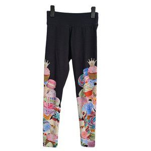JUSTICE Ice Cream & Cupcake Black Leggings 10